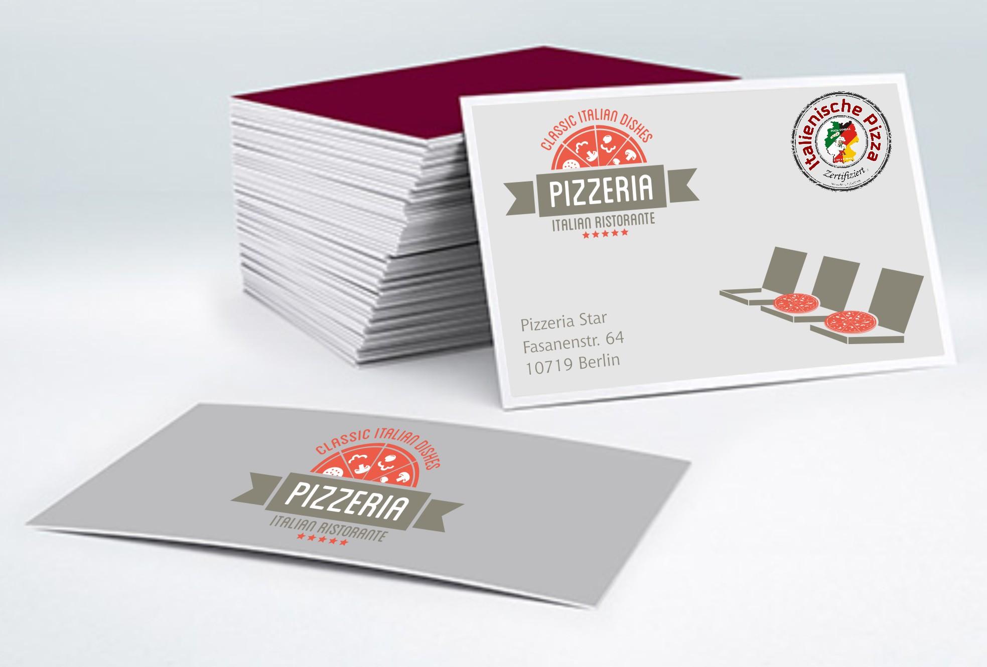 Visitenkarten Pizza Schule