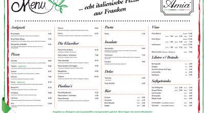 Pizzeria Amici Erlangen speisekarte