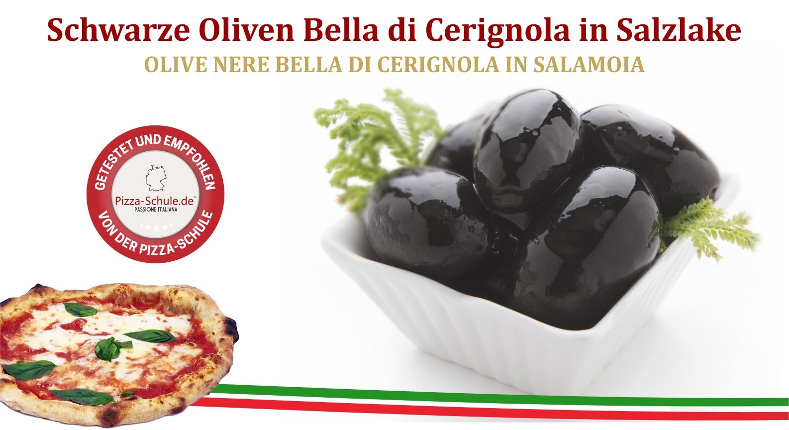 Schwarze Oliven Bella di Cerignola in Salzlake