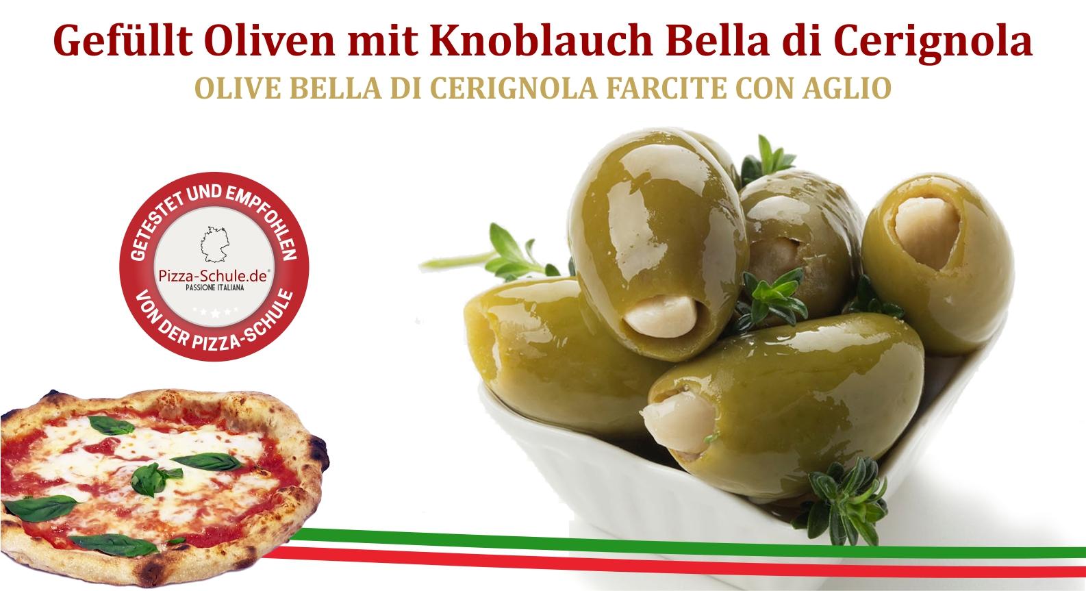 Gefüllt Oliven mit Knoblauch Bella di Cerignola