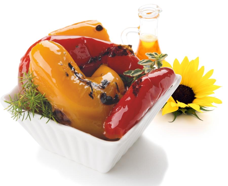 Gegrillte Paprika in Sonnenblumenöl