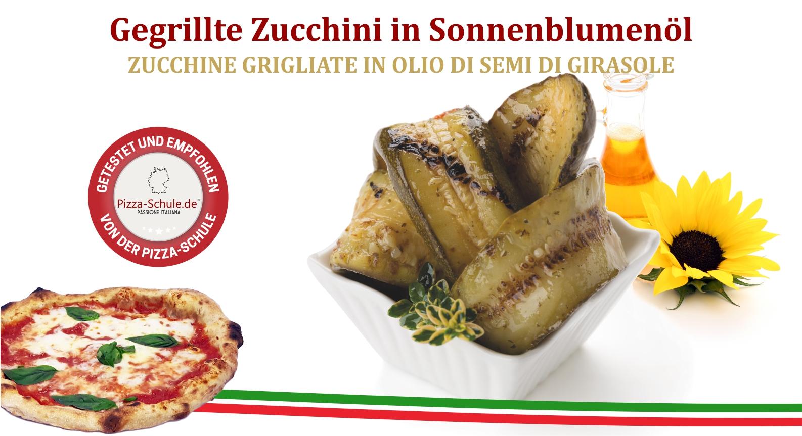 Gegrillte Zucchini in Sonnenblumenöl